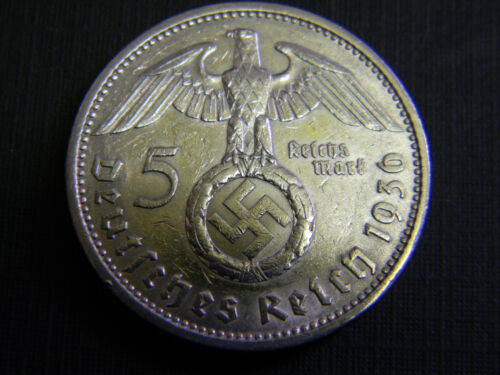 Rare German 5 Reichsmark WWII SILVER Coin with Big EAGLE