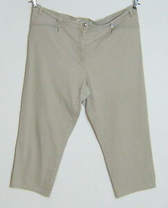 Freizeit-Capri-Jeans-Hose-Groesse-52-54-Beige-GET-IN-Woman-Dehnbund