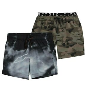 Garcons-Firetrap-leger-All-Over-Imprime-Classique-Shorts-De-Bain-Tailles-de-7-To-13