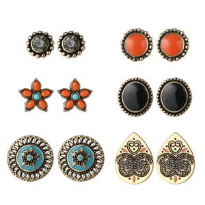 6 Paire Coloré Strass plaqué or Boucles d/'Oreilles Clou Set Lady Vintage Bijoux