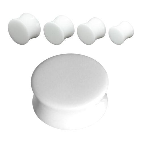 20 mm Ø Plug Ohr Piercing Double Flared Palmsamen 4 mm Steinnuss weiß