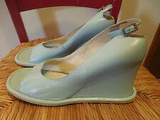 KAJU by A.G. Giraudon Blue Leather Open Toe Wedge Platform Heel Sz. 40 EU - 9 US
