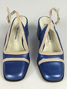 Women 39 s pepe jimenez blue slingback chunky heel pumps 6b - Pepe jimenez ...