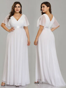 Details about Ever-Pretty Plus Size Bridesmaid Dresses Cap Sleeves Chiffon  Party Dress White