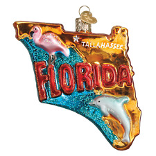 State of Florida Old World Christmas Tree Ornament NWT mouth blown glass