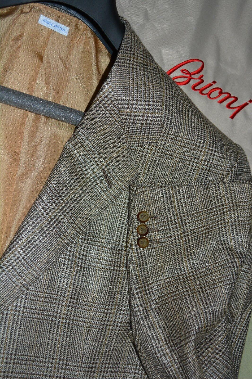 4725 MINT Brioni Silk Wool Gold Prince of Wales Sportcoat Blazer 46L 46 L ITALY