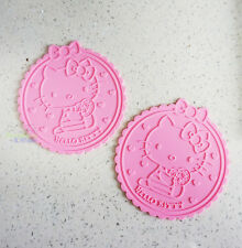 Cute 2 pcs Hello Kitty Silicone Coffee Coaster Cup Glass Beverage Holder Pad Mat