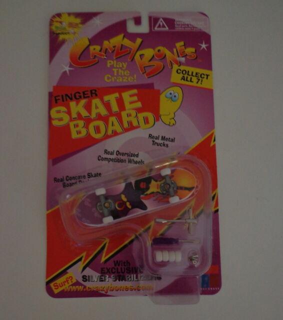1999 Crazy Bones '99 Finger Skate Board Silver Stabilizers Punk Toy Craze