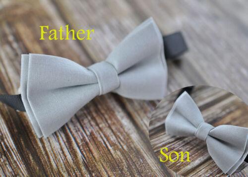 Father Son Match 100/% Cotton Handmade Matte SILVER GREY Bow Tie Bowtie Wedding
