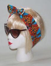Head Hair Scarf Blue Orange Aztec Tribal Headband 50s Pin Up Festival Boho INCA