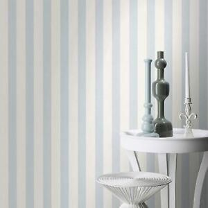 Enfant-XVIII-Etroit-Rayure-Papier-Peint-Bleu-Blanc-Rasch-246025-Neuf
