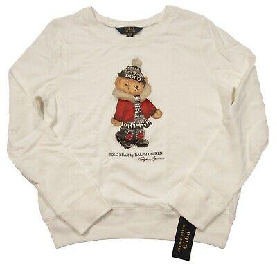 Polo Ralph Lauren Girls White Marseilles Bear Terry Pullover Sweatshirt