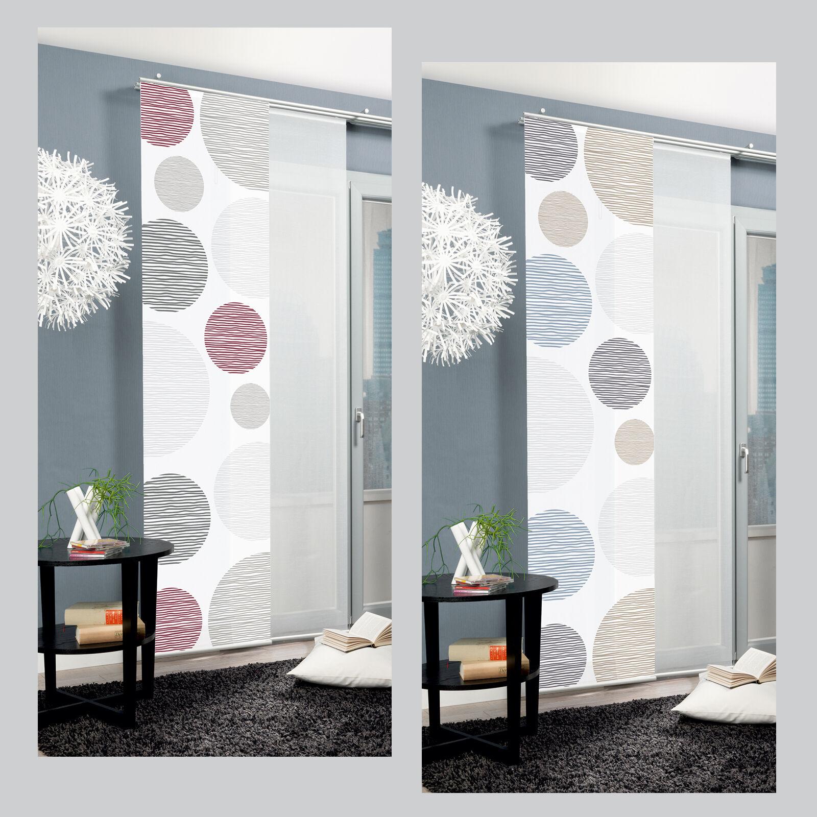 ra kreise voile scherli schiebevorhang schiebegardine raumteiler home wohnideen ebay. Black Bedroom Furniture Sets. Home Design Ideas
