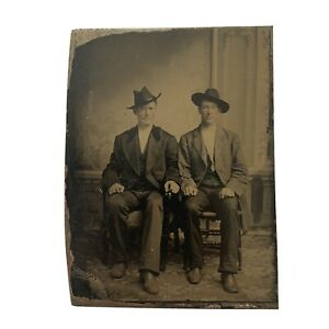 Antique Early Tintype Photograph Handsome Young Cowboys Cowboy Hat Boots Cheeks