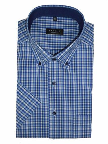 Camicia Eterna Comfort Fit a maniche corte button down a quadri blu 3731/16 k14l