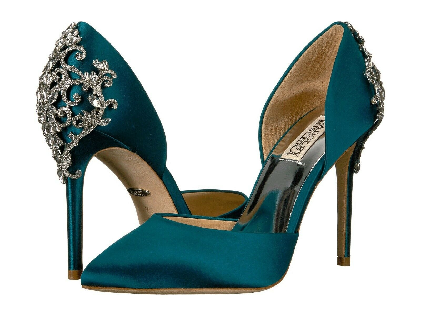 Badgley Mischka KARMA Satin Pump Crystal Embellished Heel verde 5.5  225 Nib