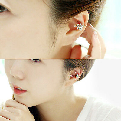 Fashion Lady Women Snowflake Crystal Rhinestone Ear Stud Clip Earrings Jewelry
