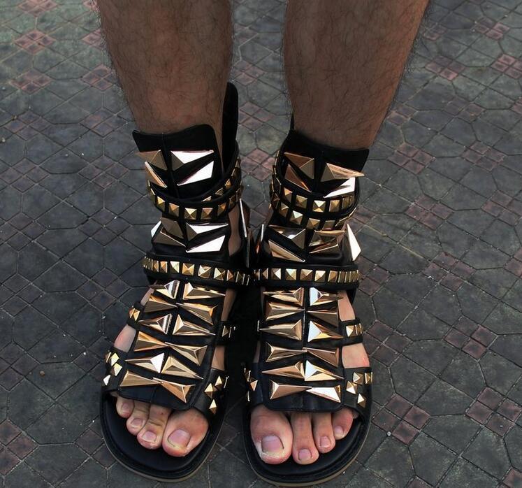 Mens Rock Rivet Metal Sandals Buckle Strap Gladiator Gladiator Gladiator Open Toe High Top Boot 2018 c49db5