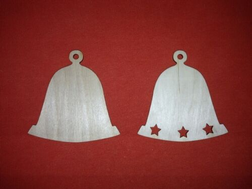10 BIG BELL  VARIATIONS of UNPAINTED BLANK WOODEN CHRISTMAS HANGING SHAPE TAG