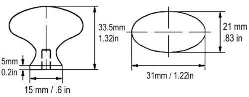10 Satin Nickel Oval Kitchen Cabinet Knobs knob egg football 31mm Brushed