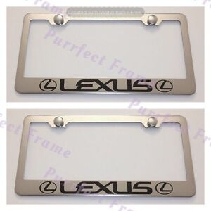 2X-Lexus-With-Logo-Stainless-Steel-License-Plate-Frame-Rust-Free-W-Bolt-Caps