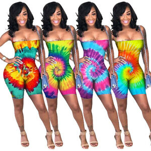 Adroit New Sexy Women's Backless Tie Dye Print Sleevelsss Lowcut Skinny Club Jumpsuit