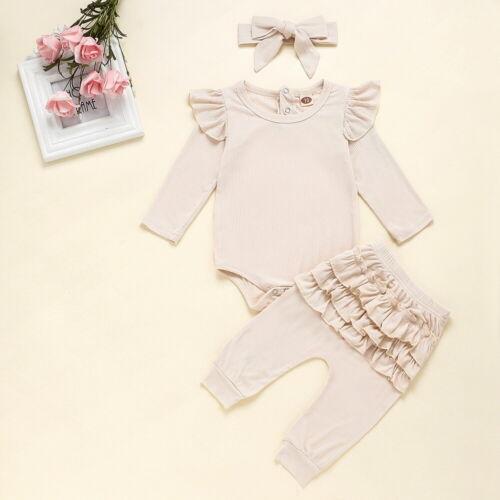 3PCS Newborn Baby Girls Ruffled Tops Romper Bodysuit Pants Headband Outfits Set