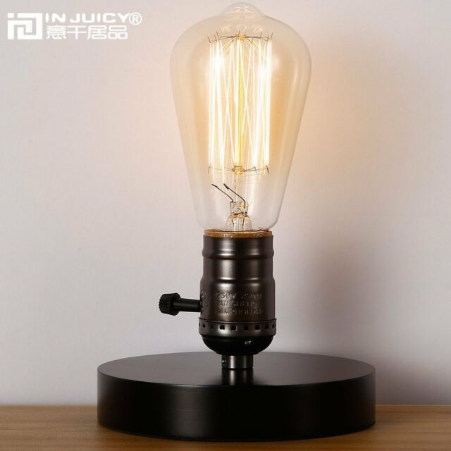 Injuicy Loft Vintage Industrial Wooden Base E27 Edison Table Lamps