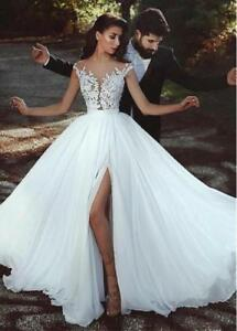 New Lace Chiffon Wedding Dresses Beach Bridal Gown Cap Sleeve Slit ...