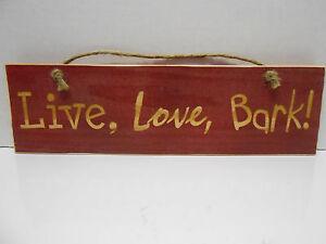 wooden sign live love bark ebay
