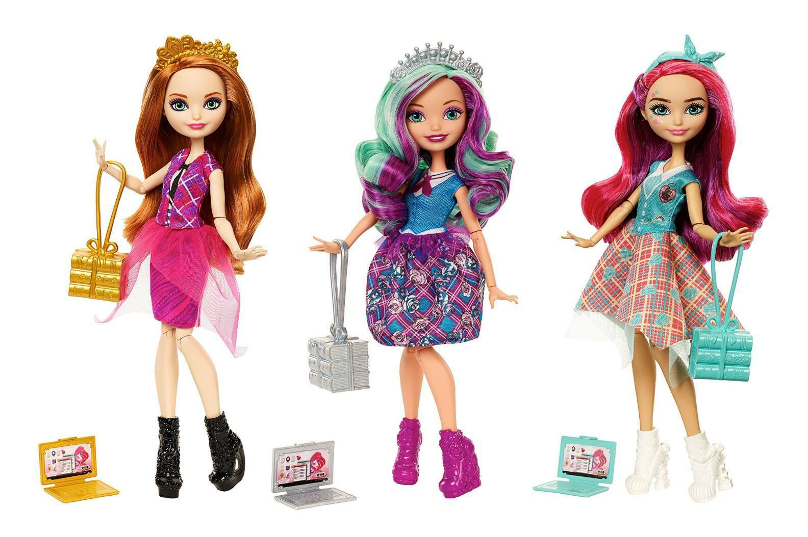 Ever After High regreso a la escuela meeshell Sirena Madeline Hatter Holly ohair Muñeca