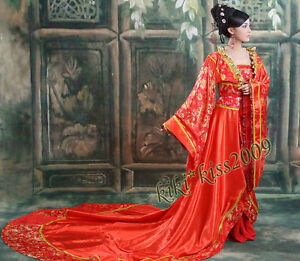 China-Wedding-Full-Dress-Queen-Red-Tan-Dynasty-Brocade-HanFu-Kimono