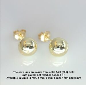 Pair-14ct-Solid-Gold-Ball-Stud-Earrings-3mm-8mm