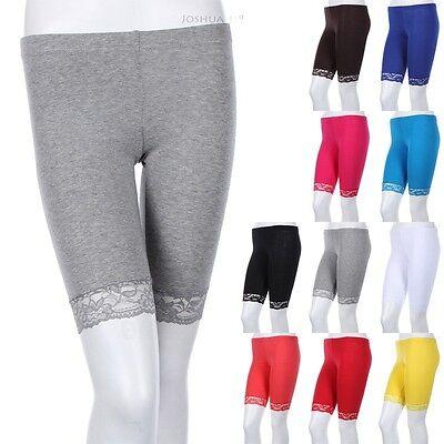 Lace Hem Short Leggings Above Knee Yoga Pants Solid Plain Layering Bermuda S M L