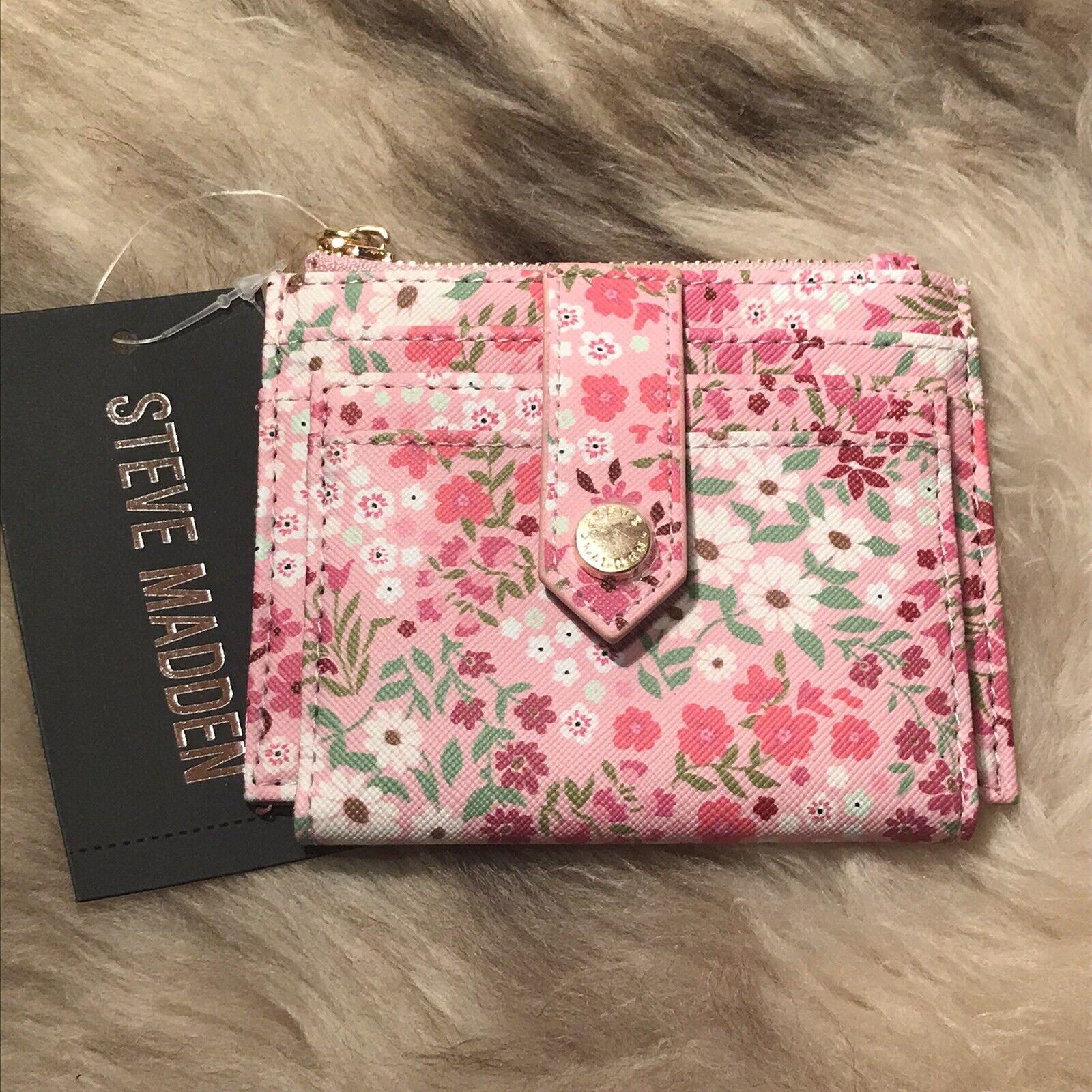 NWT Steve Madden Bhayden Card Case Wallet - Pretty Floral On Blush Print