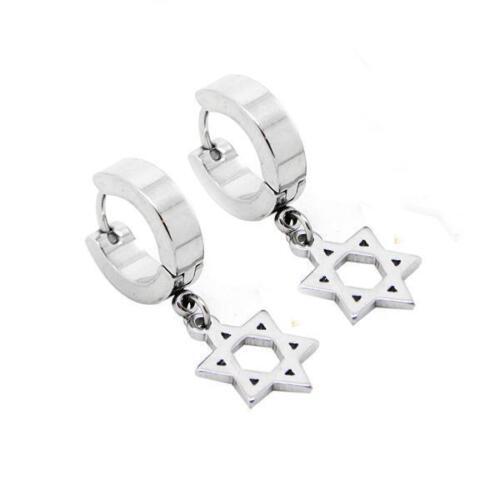 Pendientes de estrella de plata de acero inoxidable 316 L Huggie Aro 1 par vendedor del Reino Unido