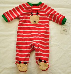 4baf99bc3ab6 BOY s CARTER s red STRIPEs sleeper one piece playsuit size newborn ...