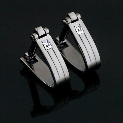 XK-522 Stainless Steel Austrian Crystal Mens Wedding Cufflinks Gift Box FREE P&P