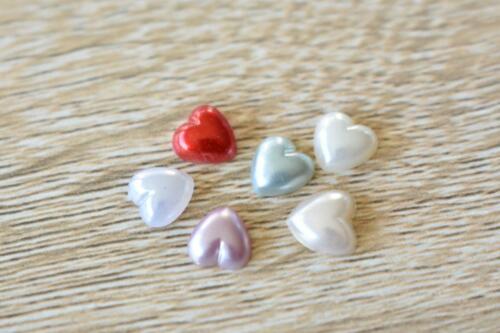 VTG8 Heart Multicolour 50pcs 8x8mm Flatback Acrylic Pearl Resin Jewel
