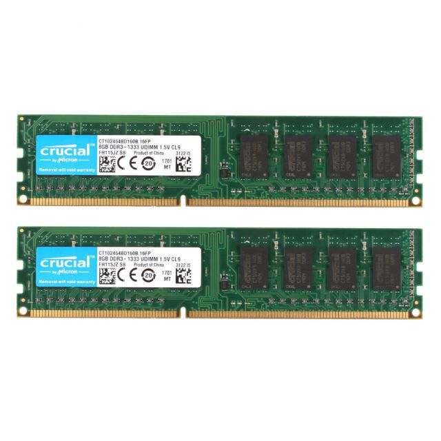 Desktop RAM 16G 2x 8GB PC3-12800U NonECC Unbuffered Low Density UDIMM Memory LOT