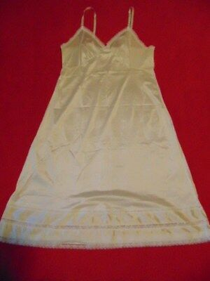 "Sears Size 38-30"" #84145 White Nylon Anti-cling Full Slip W Cut Lines"