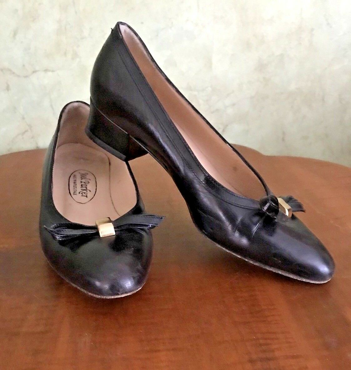 Vintage Joel Parker Made Leather in Naples, Italy BLACK Leather Made Pumps w/ Bow size 5.5 B 7d75df
