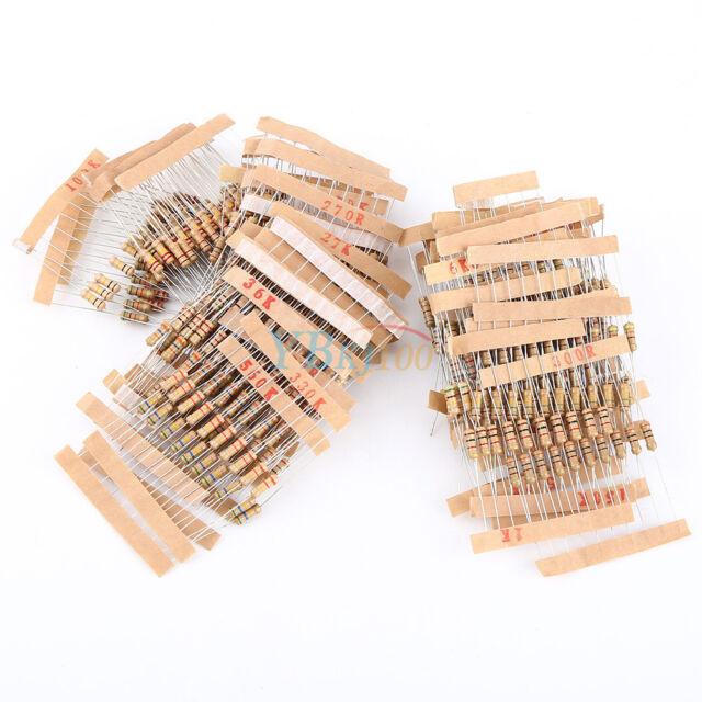 1000PC 100 Values ±5% 1/2W Carbon Film Resistors Assortment Kit Capacitor NEW JS