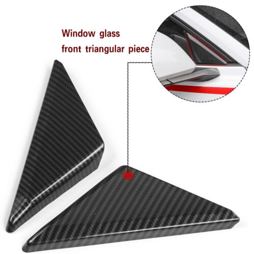 Triangle Cover Front Door Window Trim For Ford Mustang 2016 Carbon Fiber Grain