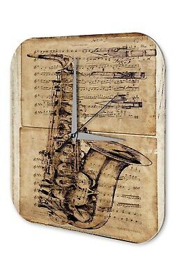 Wanduhr Bar Party Wand Deko Saxophon Musikinstrument Acyrl Dekouhr Retro