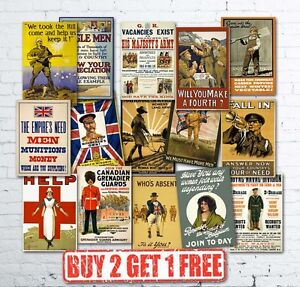 A4-Vintage-High-Quality-Allied-WW1-World-War-I-Propaganda-Military-Posters-Retro
