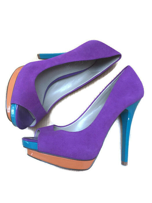ALDO Size 6 Ladies Stunning Purple Green orange Suede Patent 5  Stiletto shoes