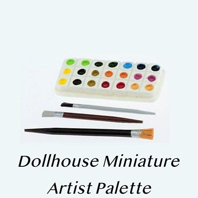 1:12 Dollhouse Miniature Palette and 2 Brushes Dollhouse Pr zy