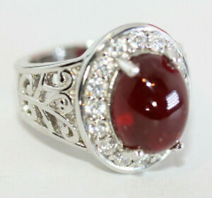 Stunning-5-CT-Oval-Cabochon-Solitaire-Pigeon-Blood-Red-Ruby-925-Silver-Sz-6-5