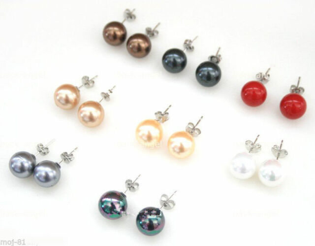 8 Pairs Mix Color 10mm Round South Sea Shell Pearl 925 Silver Stud Earrings